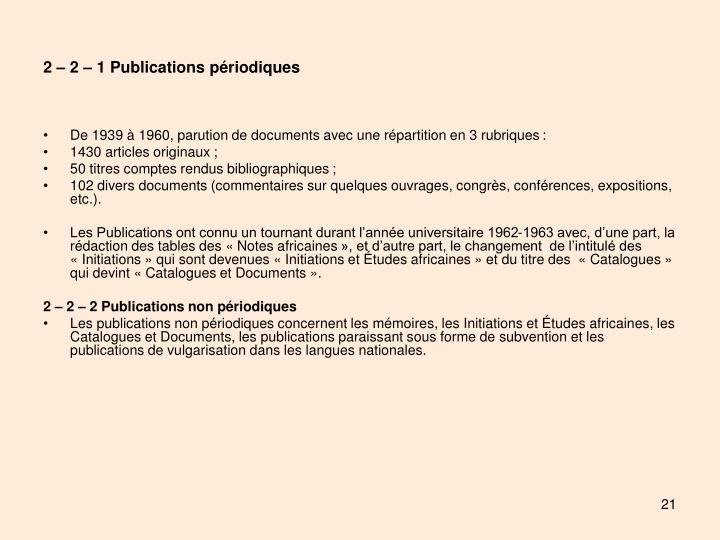 2 – 2 – 1 Publications périodiques