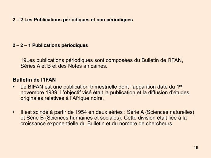 2 – 2 Les Publications périodiques et non périodiques