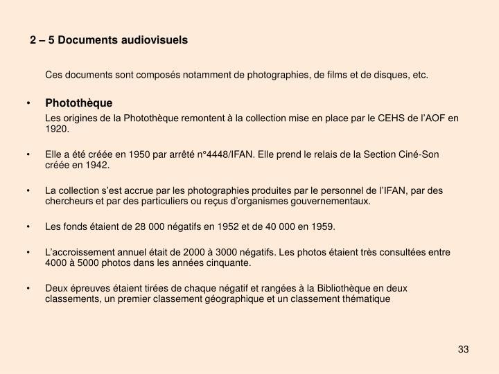 2 – 5 Documents audiovisuels