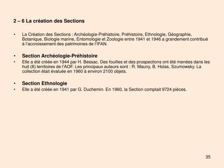 2 – 6 La création des Sections