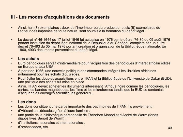 III - Les modes d'acquisitions des documents