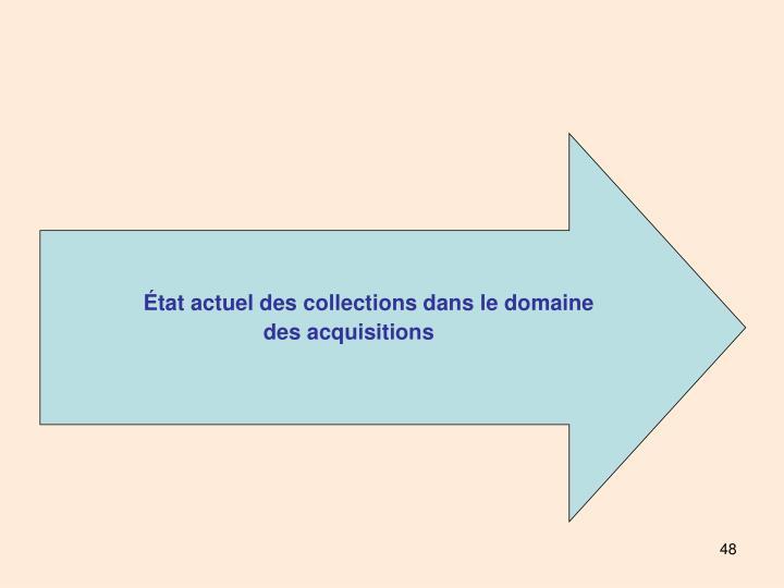 État actuel des collections dans le domaine