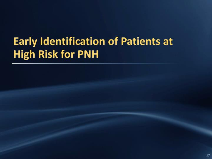 Early Identification of Patients at High Risk for PNH