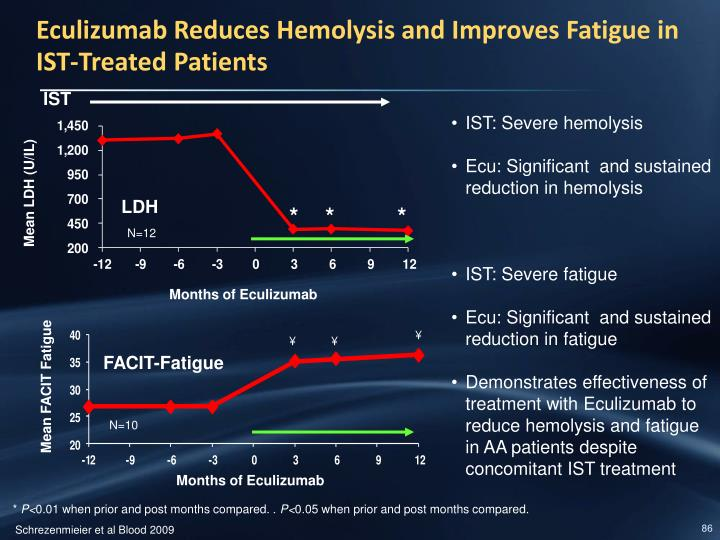 Eculizumab Reduces Hemolysis and Improves Fatigue in IST-Treated Patients