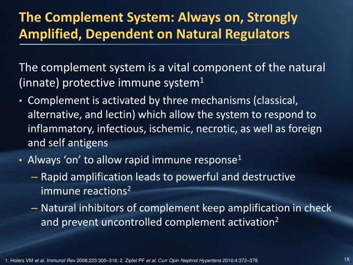 The Complement System: Always on, Strongly Amplified, Dependent on Natural Regulators