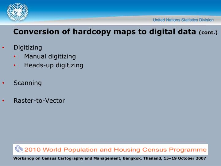 Conversion of hardcopy maps to digital data