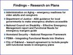 findings research on plans