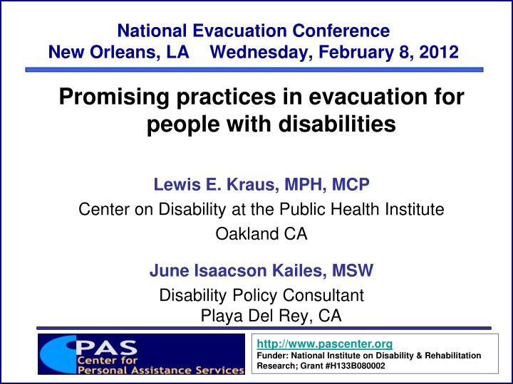 National evacuation conference new orleans la wednesday february 8 2012