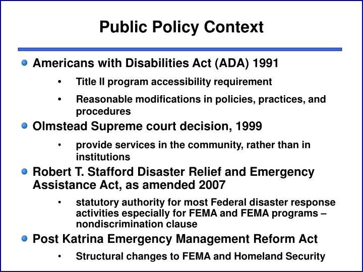 Public Policy Context
