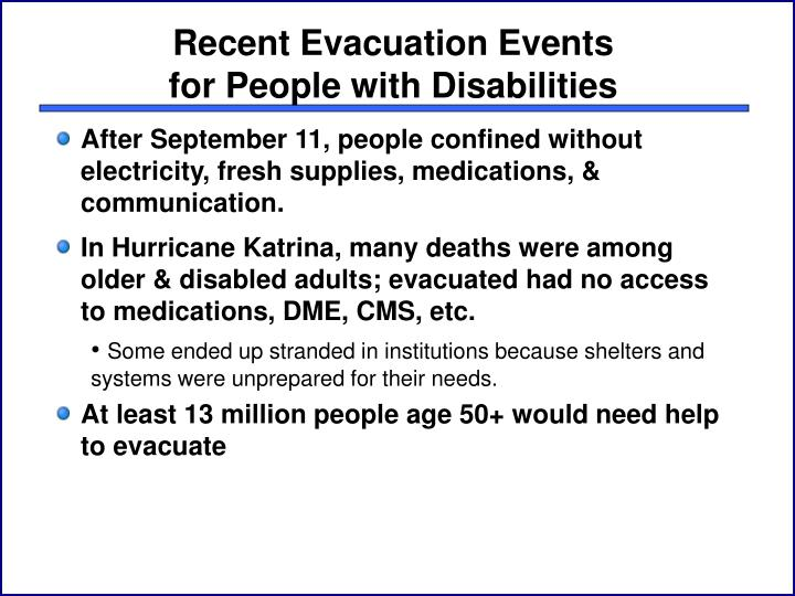 Recent evacuation events for people with disabilities