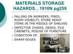 materials storage hazards 1910n pg259