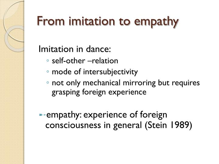 From imitation to empathy