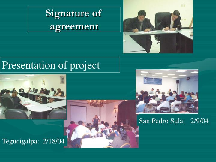 Signature of agreement