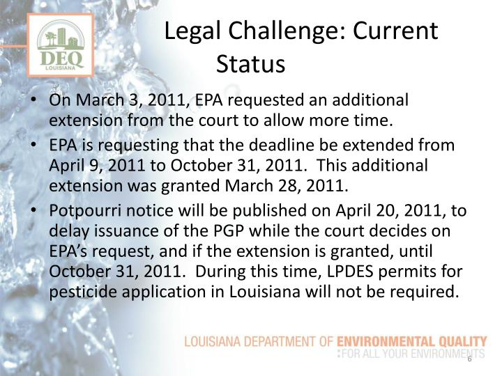Legal Challenge: Current Status