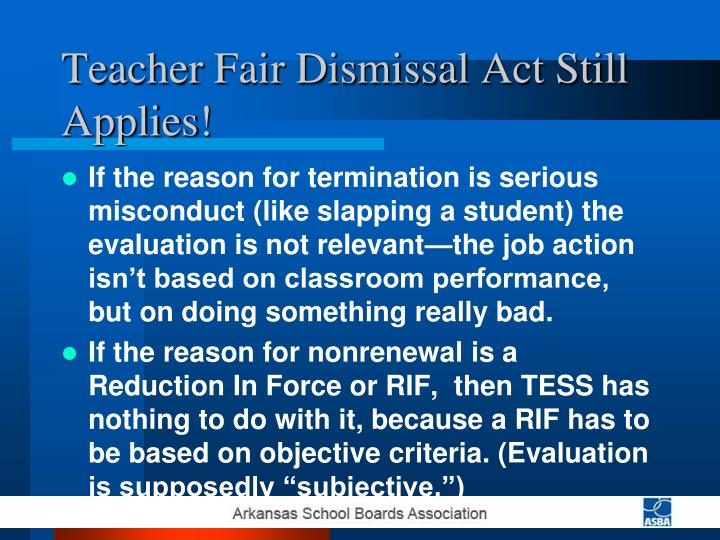 Teacher Fair Dismissal Act Still Applies!