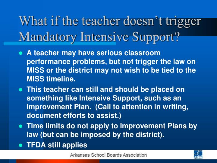 What if the teacher doesn't trigger Mandatory Intensive Support?