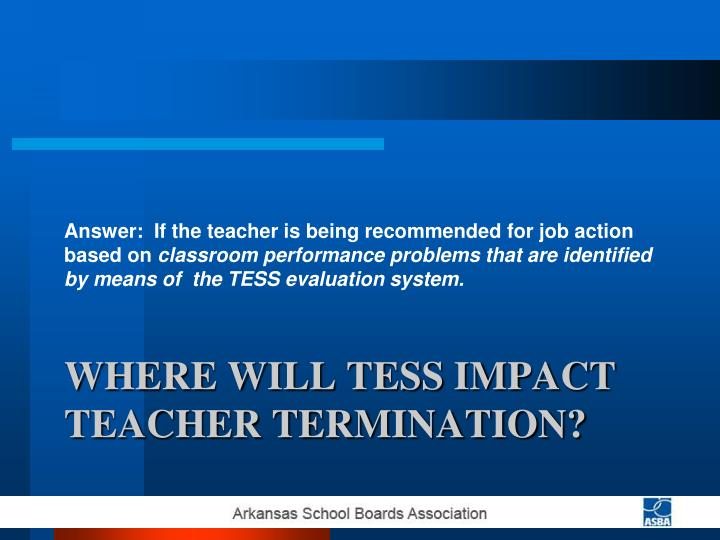 Answer:  If the teacher is being recommended for job action based on