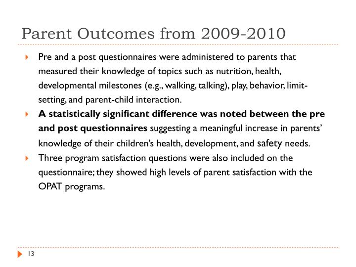 Parent Outcomes from 2009-2010