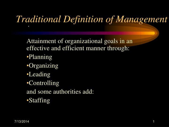 Traditional definition of management