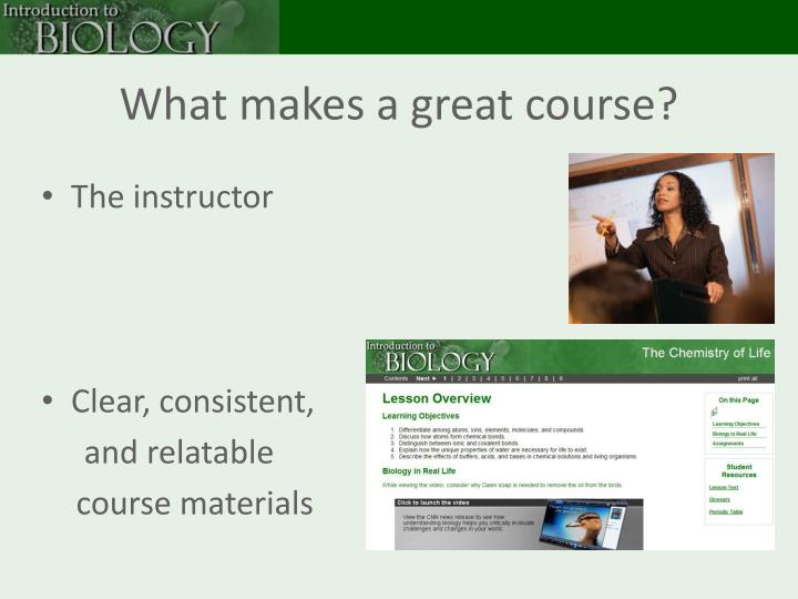 What makes a great course?