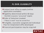 fl dvr eligibility
