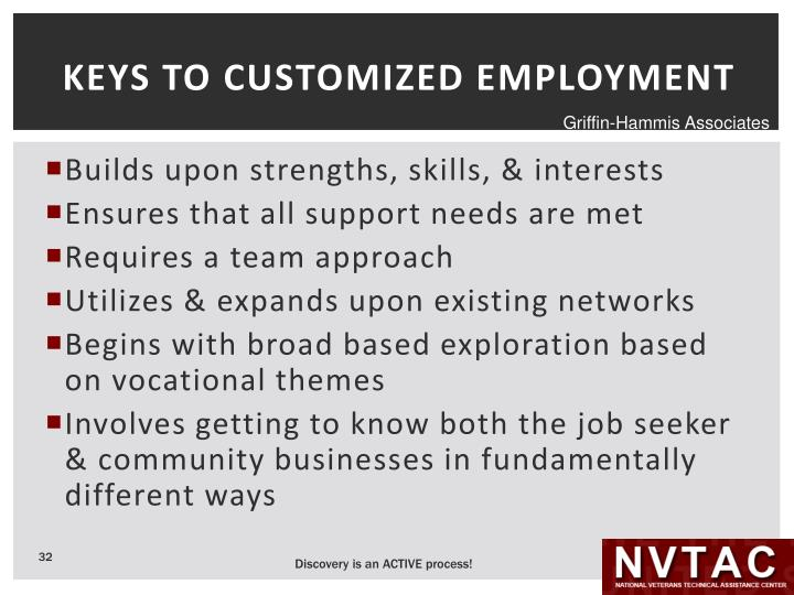 KEYS TO CUSTOMIZED EMPLOYMENT
