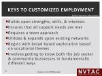 keys to customized employment