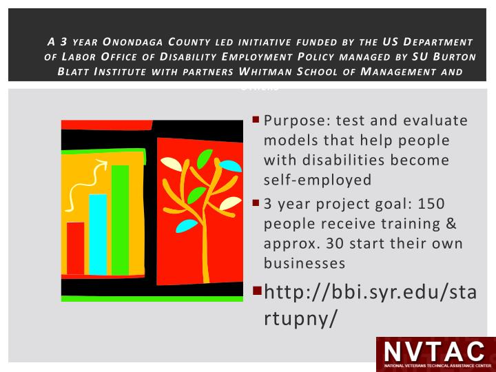 A 3 year Onondaga County led initiative funded by the US Department of Labor Office of Disability Employment Policy managed by SU Burton Blatt Institute with partners Whitman School of Management and others