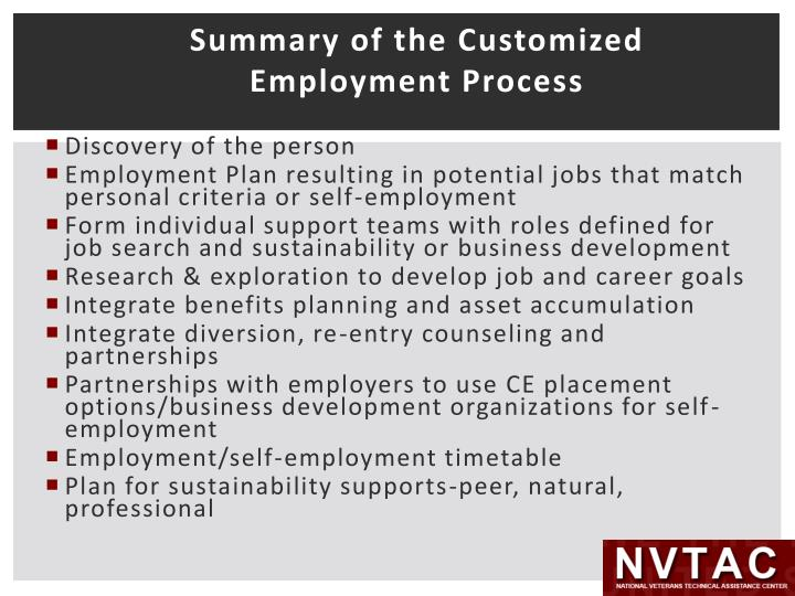 Summary of the Customized Employment Process