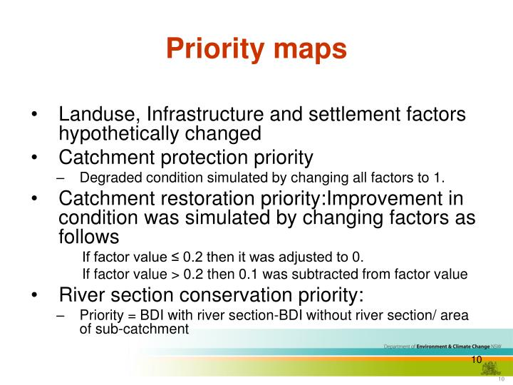 Priority maps