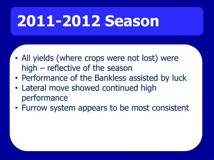All yields (where crops were not lost) were high – reflective of the season