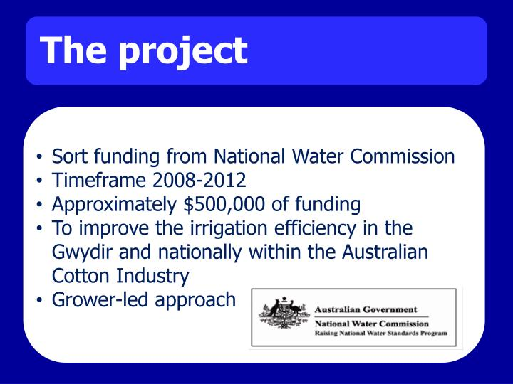 Sort funding from National Water Commission