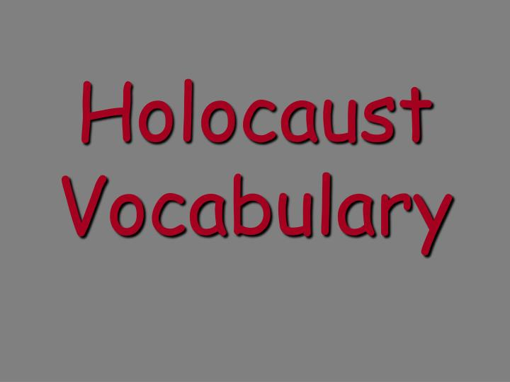 Holocaust vocabulary