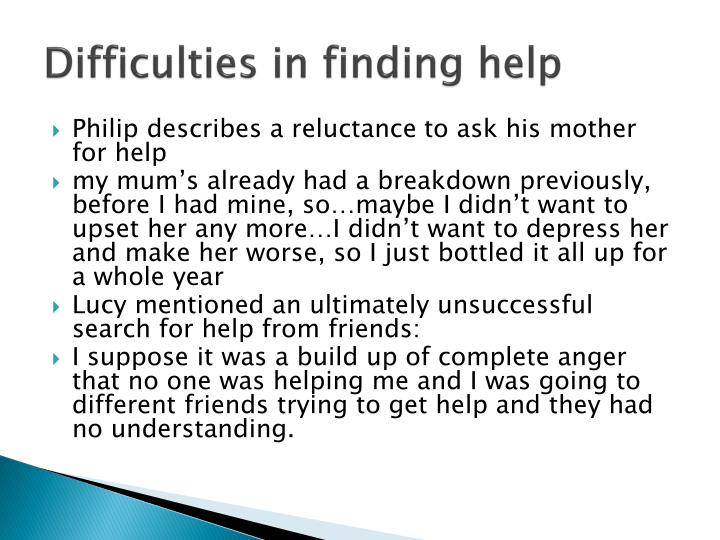 Difficulties in finding help