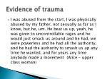 evidence of trauma