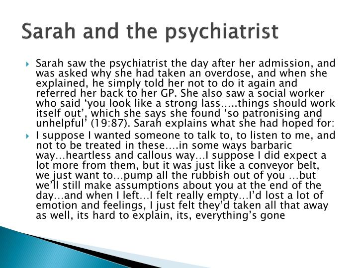 Sarah and the psychiatrist