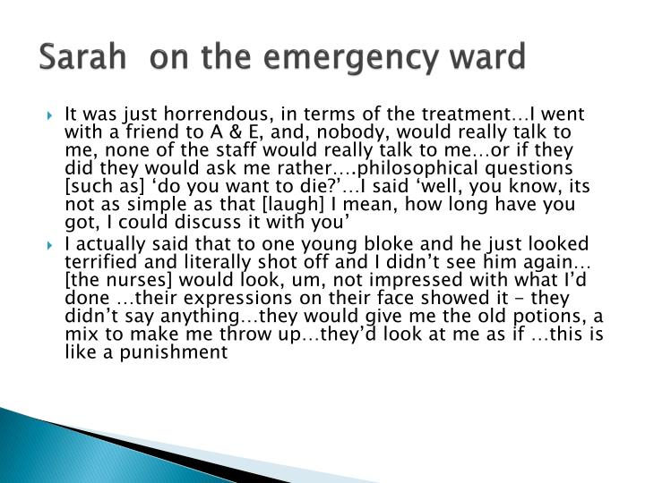 Sarah  on the emergency ward