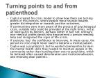 turning points to and from patienthood