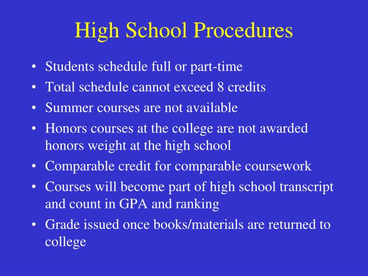 High School Procedures