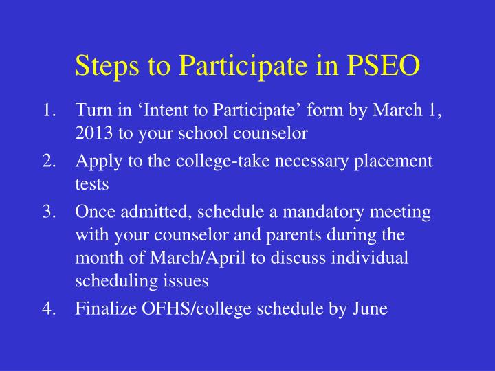 Steps to Participate in PSEO