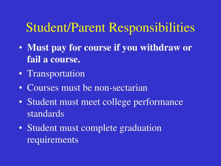 Student/Parent Responsibilities