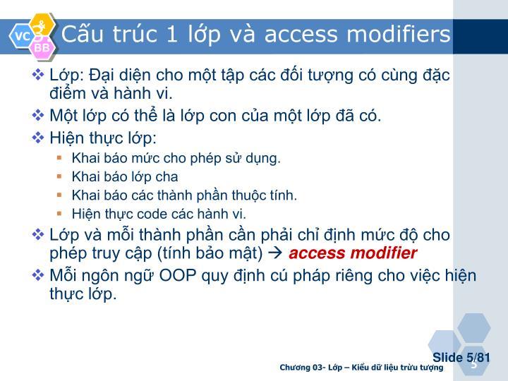 3. Cấu trúc 1 lớp và access modifiers