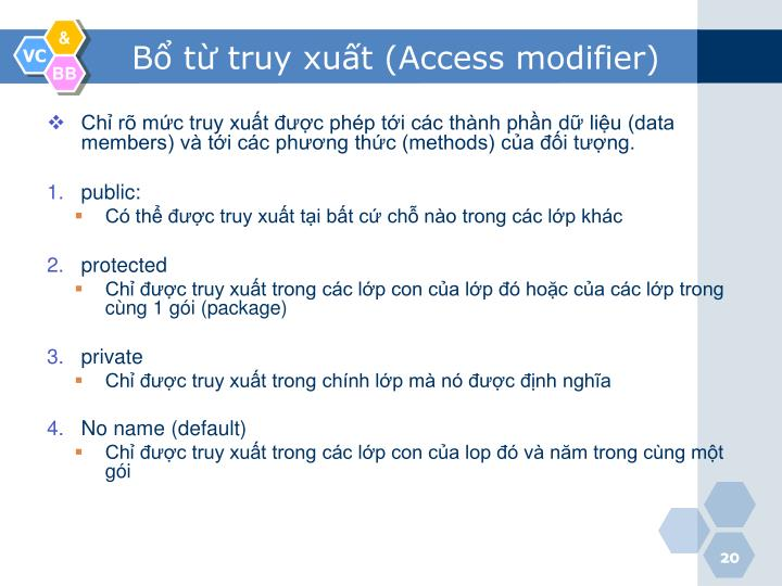 Bổ từ truy xuất (Access modifier)