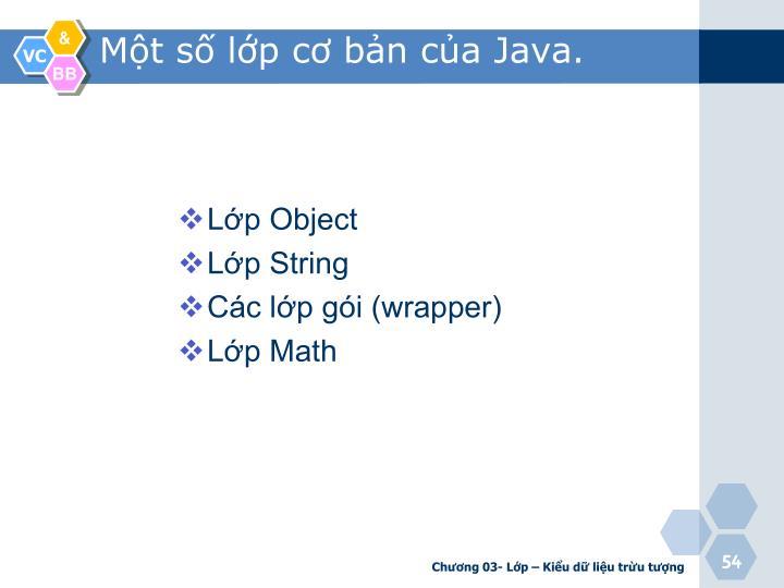 Một số lớp cơ bản của Java.