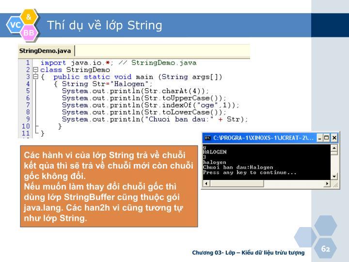 Thí dụ về lớp String