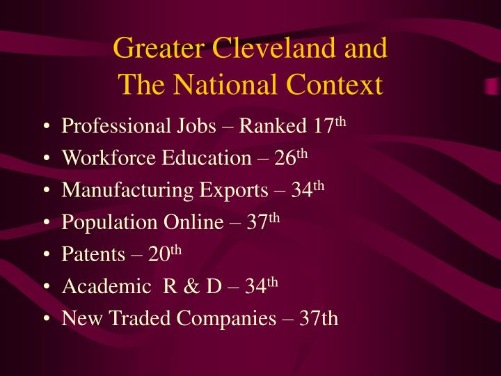 Greater cleveland and the national context