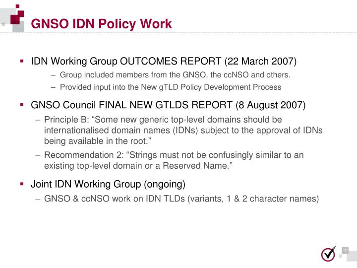 GNSO IDN Policy Work