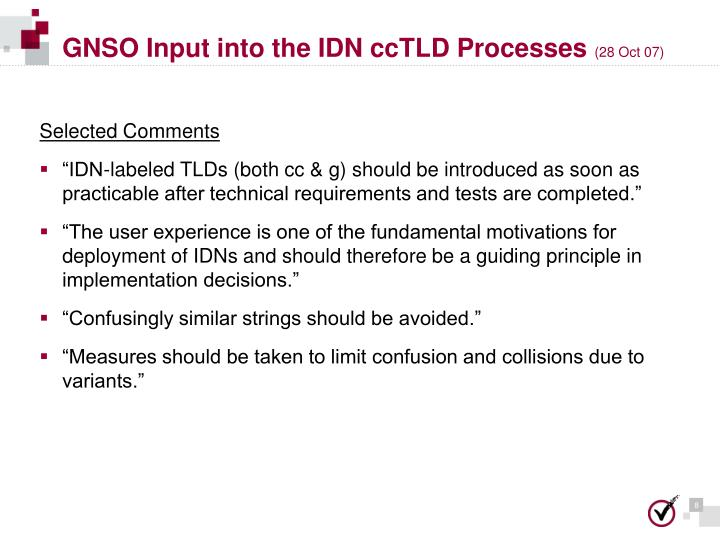 GNSO Input into the IDN ccTLD Processes
