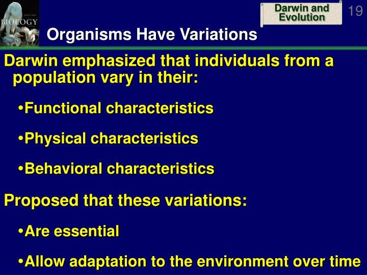 Organisms Have Variations