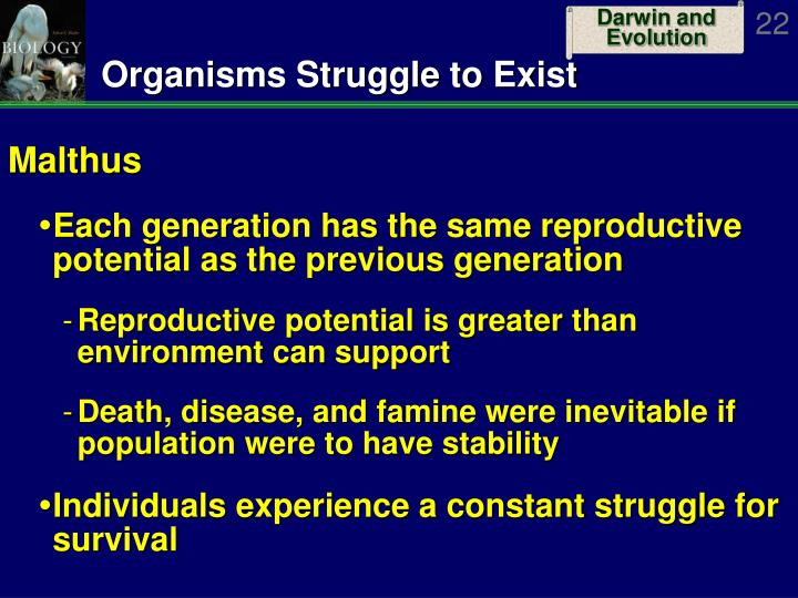 Organisms Struggle to Exist